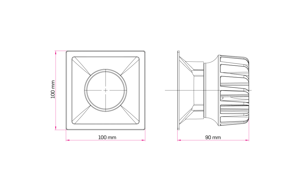 Technical Drawing for Blanda Fixed Downlight Spot