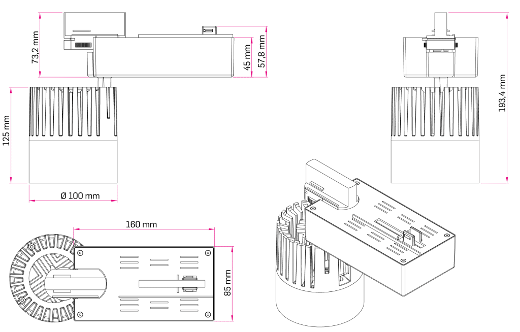 Technical Drawing for Lagra Three-Phase Tracklight