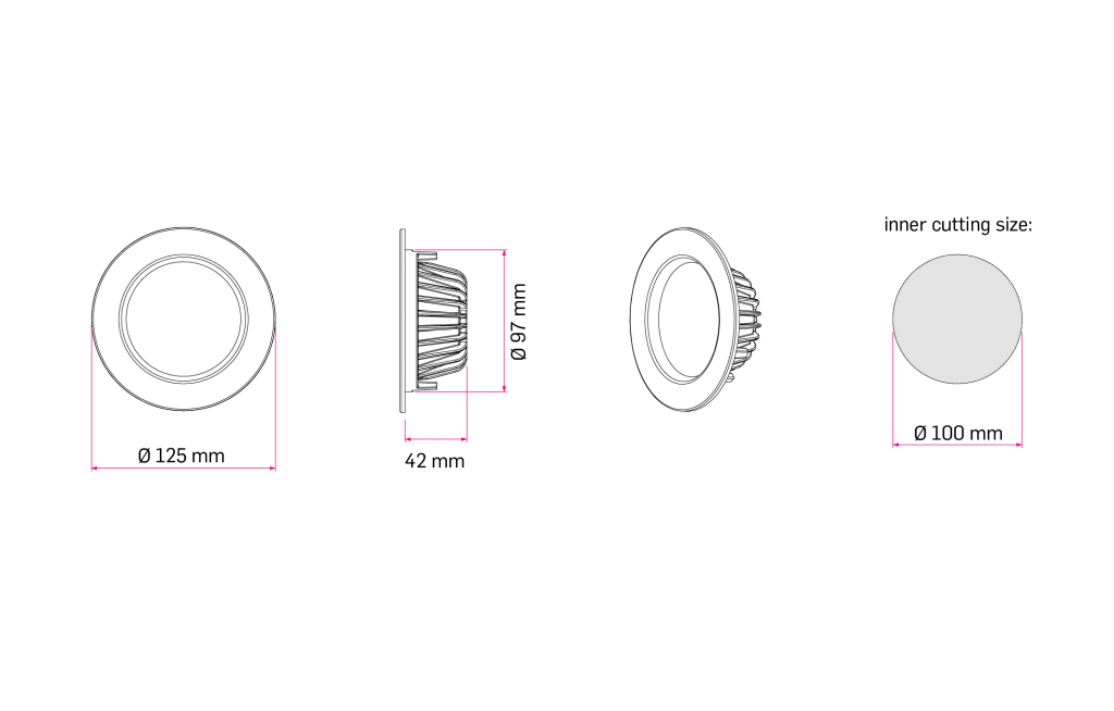 Technical Drawing for Latt 4 Inch Downlight