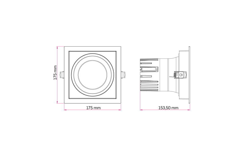 Technical Drawing for Lava Square Downlight