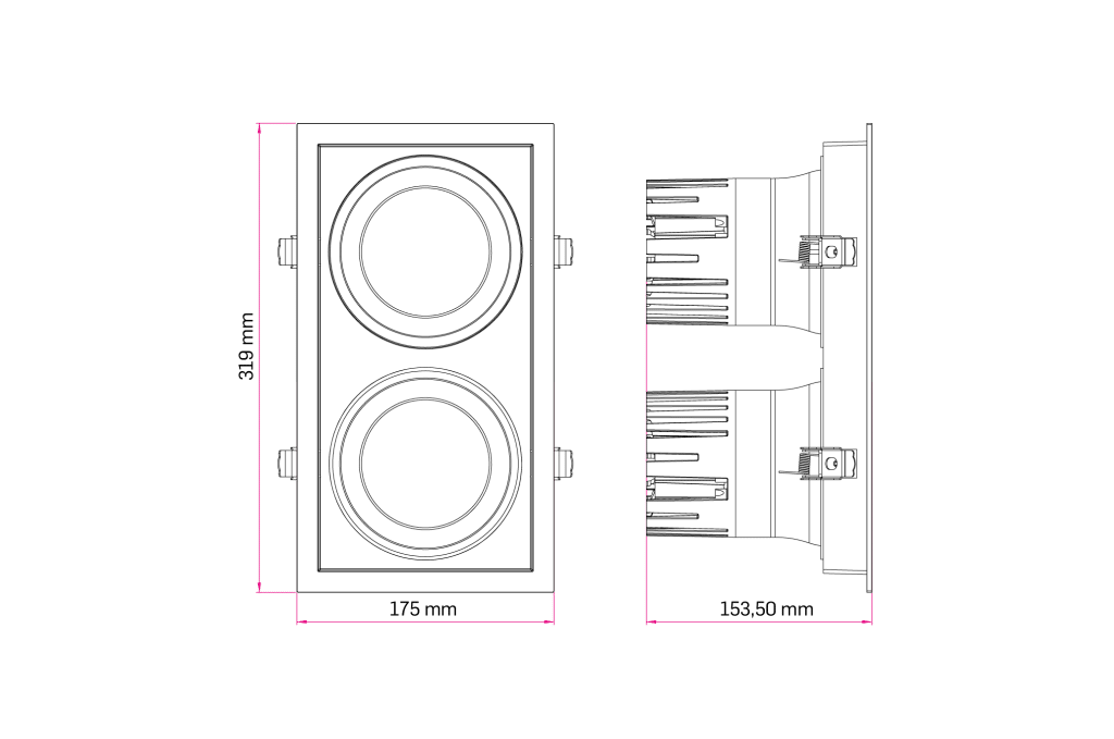 Technical Drawing for Lava Duo Square Downlight