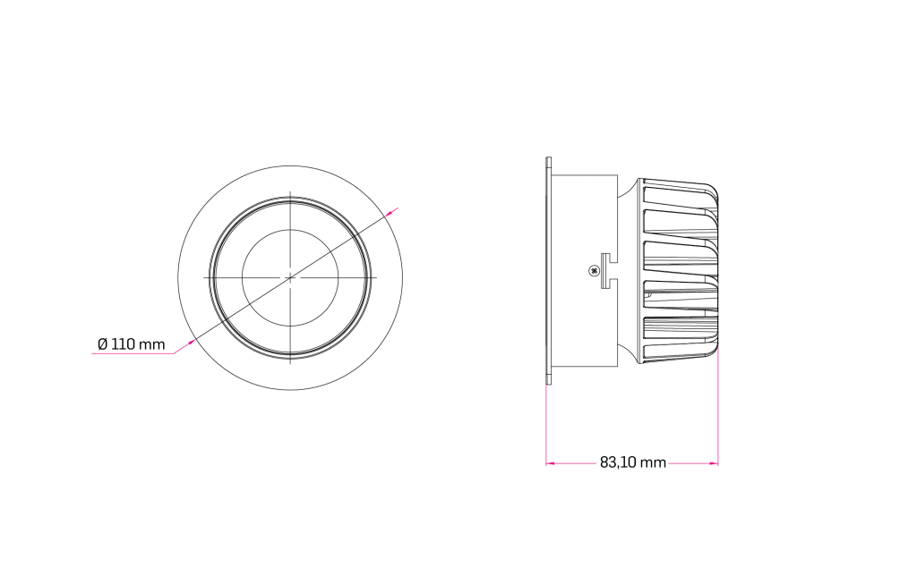 Technical Drawing for Lins Tilted Downlight Spot