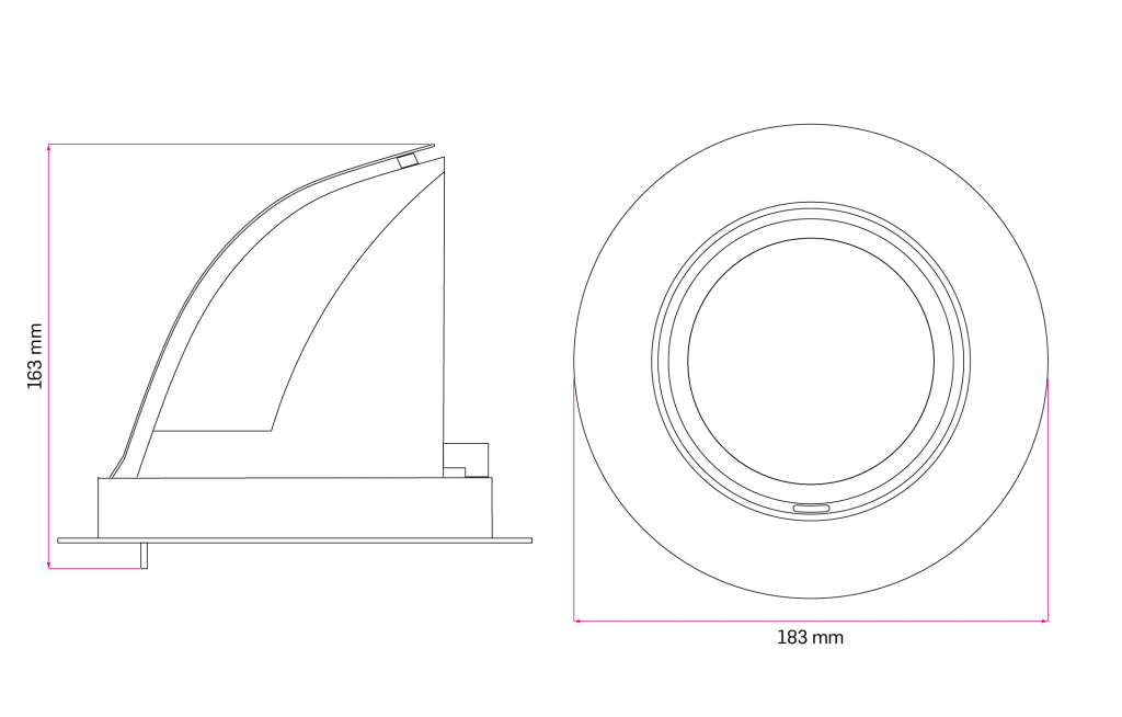 Technical Drawing for Malm Adjustable Spot Light