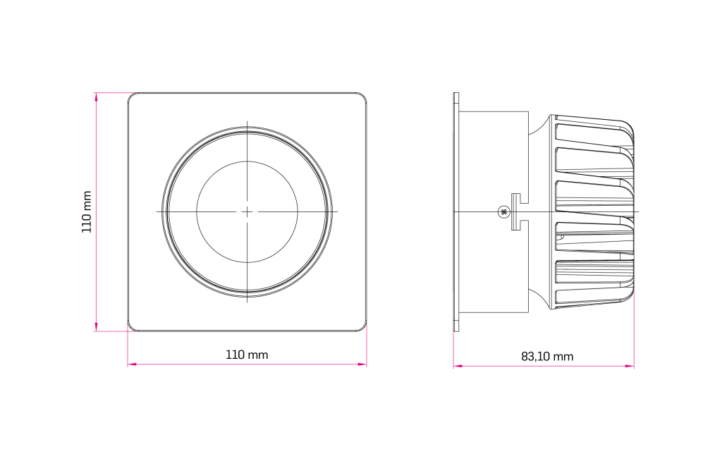 Technical Drawing for Parla Fixed Downlight Spot